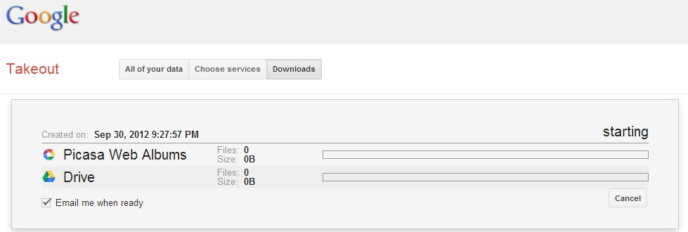 How to download all files I uploaded to various Google