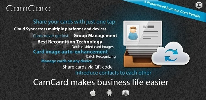 Top 3 free android apps for scanning business cards technology blog camcard lite business card reader reheart Choice Image
