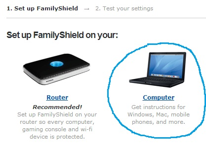 Setup Family Shield on computer