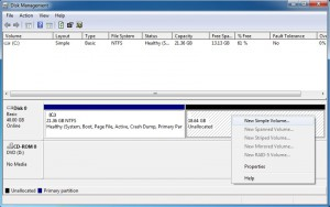 Create new simple volume from unallocated space using Disk Management Tool