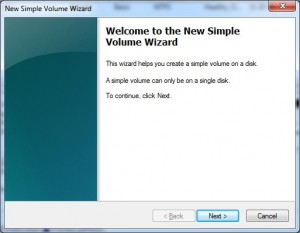 Create new volume in Windows 7 using wizard