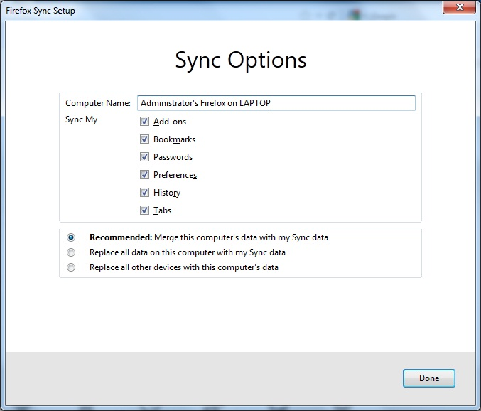 Firefox Sync Setup Sync Options for second device