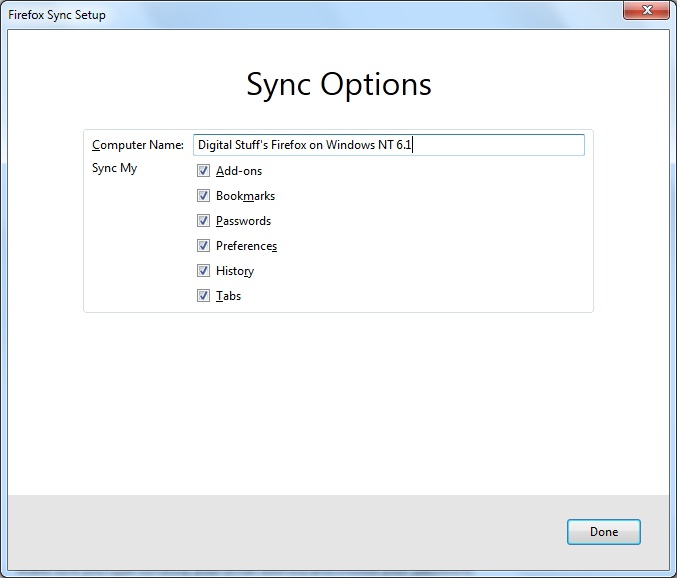Firefox Sync Setup Sync Options