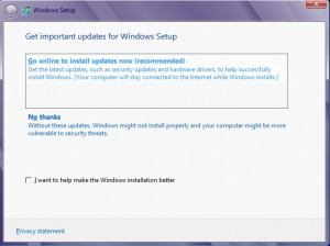 Get important updates during Windows 8 setup