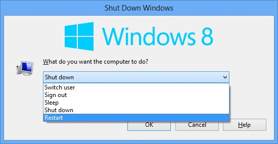 Restart Windows 8 through shut down menu