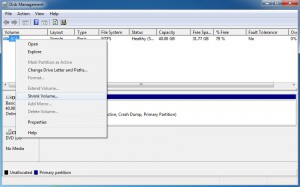 Shrink drive C in Windows 7 using Disk Management Tool