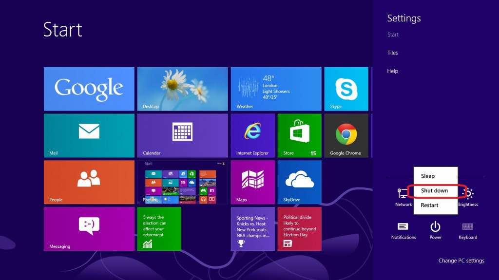 Shut down Windows 8 through Charm settings menu