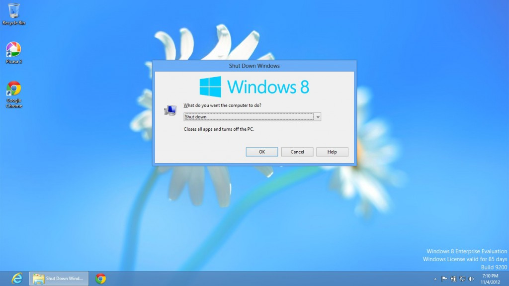 Shut down Windows 8 with Alt+F4