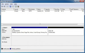 Unallocated space after shrinking drive C in Windows 7 using Disk Management Tool