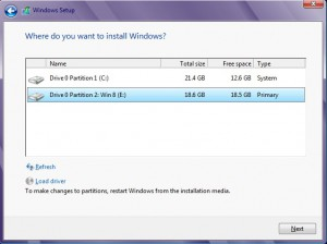 Prompt window to choose location where to install Windows 8
