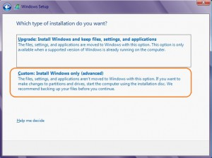 Choosing the type of installation during Windows 8 Setup process