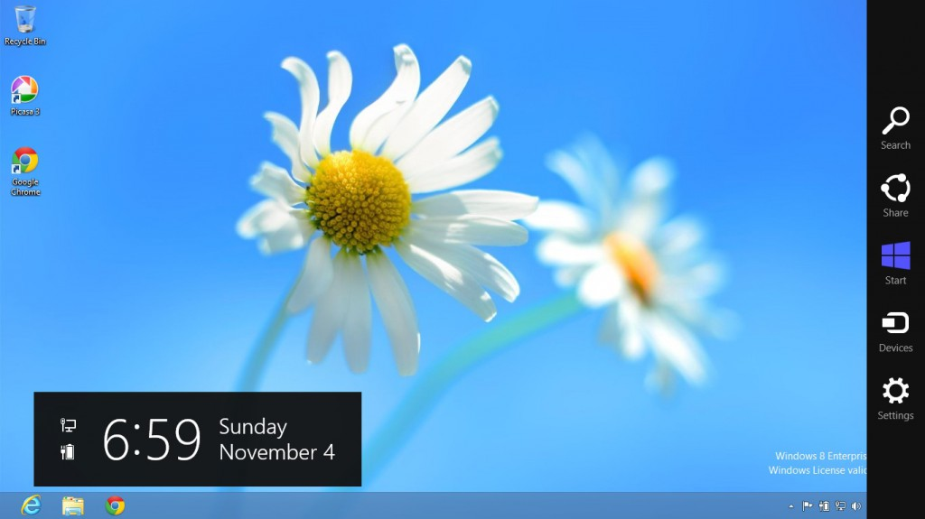 Windows 8 Charms menu