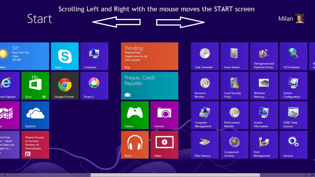 Windows 8 Start screen scrolling