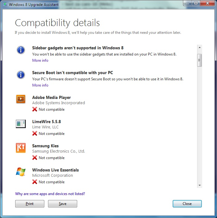 Windows 8 Upgrade Assistant example of not compatible apps