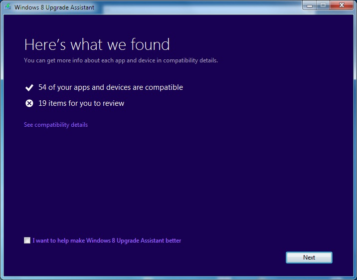 Windows 8 Upgrade Assistant screen after check is completed
