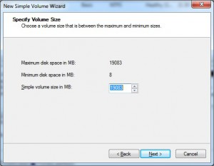 Specify volume size for new partition