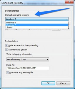 Change boot order in dual-boot OS using Windows 7 advanced properties menu