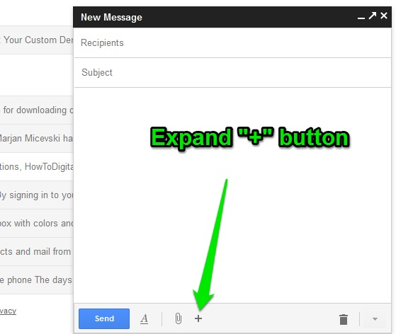 Gmail new compose experience and hidden menu