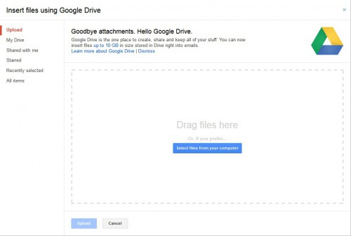 Insert files in Gmail using Google Drive