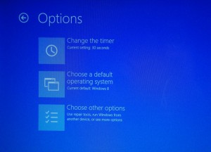 Pre-boot menu options in dual-booted Windows 8 and Windows 7