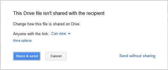 Share Google Drive files before sending them through Gmail
