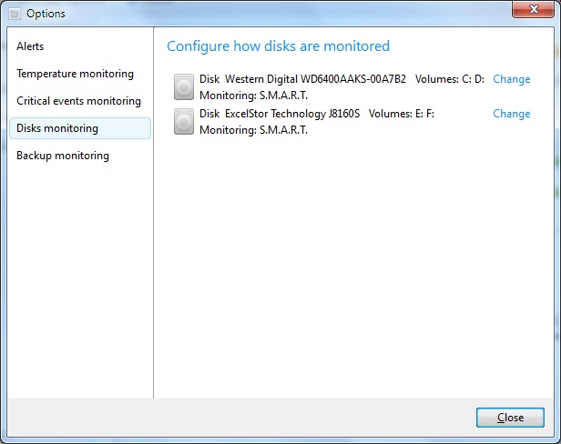 Configure how disks are monitored in Acronis Drive Monitor