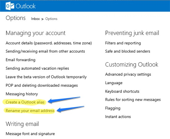 Create Outlook alias or rename email address