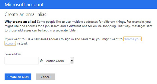 Create email alias in Outlook.com