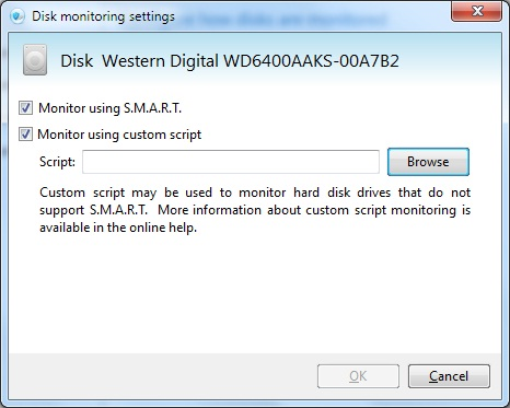 Disk Monitoring Settings using script