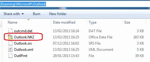 Outlook NK2 file
