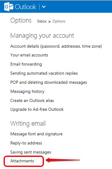 Outlook Options menu