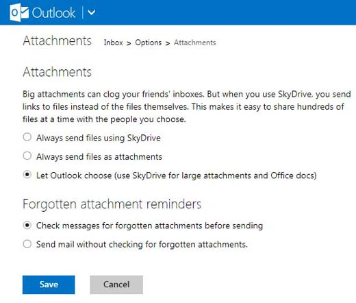 Outlook attachments options