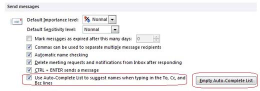 Send messages submenu in Outlook 2010