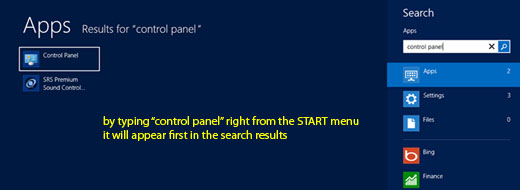 Access Control Panel in Windows 8