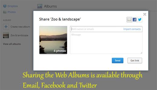 Sharing Dropbox Web Albums