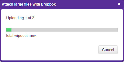 Attach large files with Dropbox