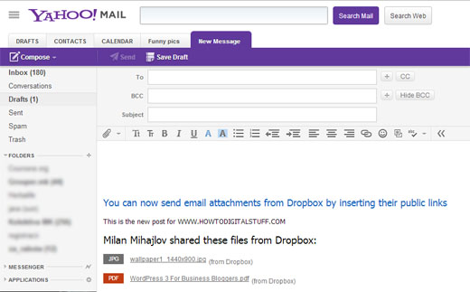 Dropbox files attached as links in the email body