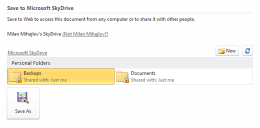 Preview folders within SkyDrive right in MS Word