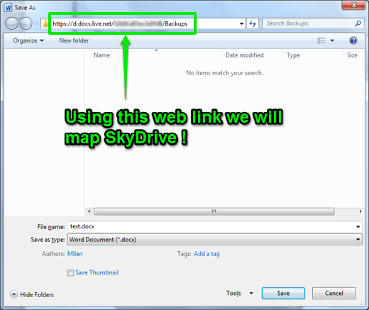Get web link for SkyDrive