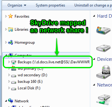 SkyDrive mapped as network drive