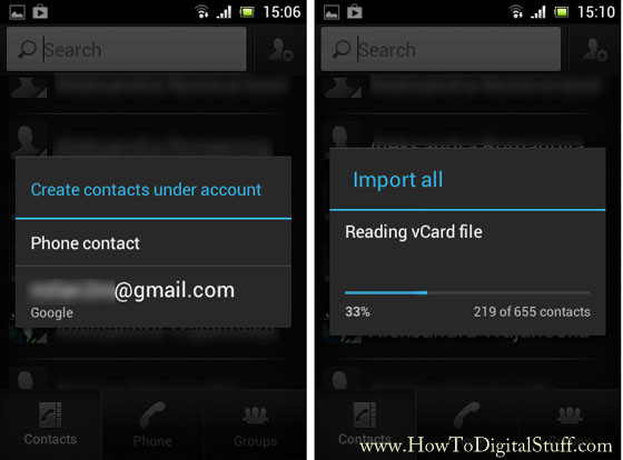 Import contacts in Gmail through phone