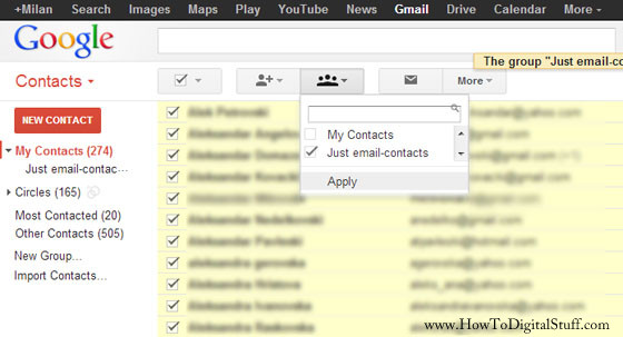 Organize contacts in the Gmail Contact Manager