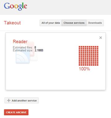 Download Google Reader archive