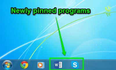 Newly pinned programs to taskbar