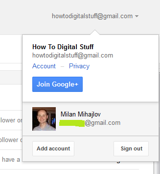 Switch between two Gmail accounts in the same browser
