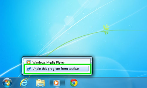 Unpin program from Windows taskbar
