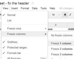 Fix-first-column-in-Google-Spreadsheet
