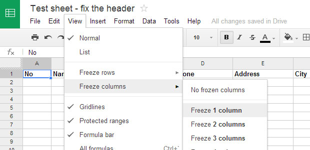 How to fix first column in Google Spreadsheet