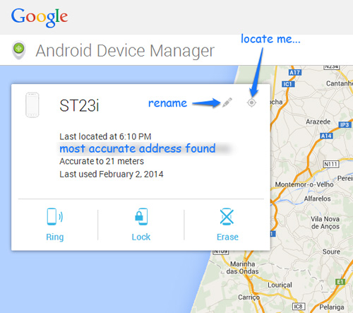 Android Device Manager Locates Phone