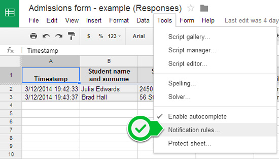Get email for Google Form responses